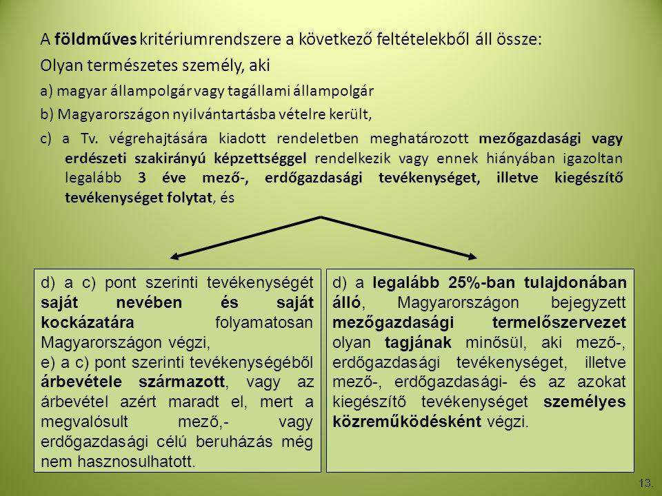 A földműves kritériumrendszere a következő feltételekből áll össze: Olyan természetes személy, aki a) magyar állampolgár vagy tagállami állampolgár b)
