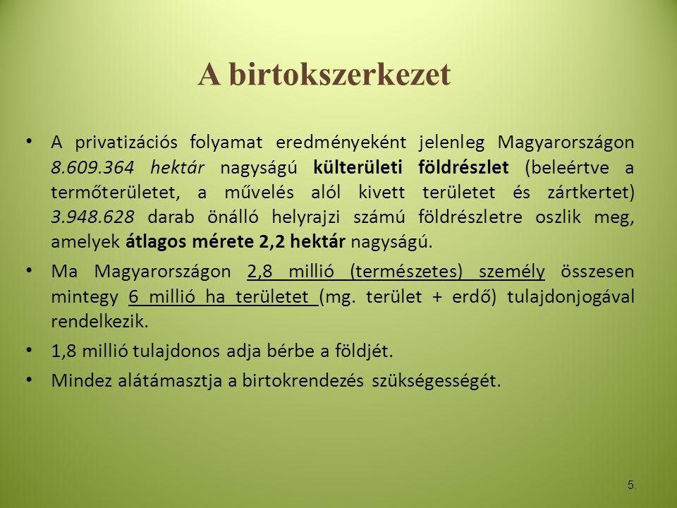6 • A magyar mezőgazdaság birtokszerkezete duális jellegű.