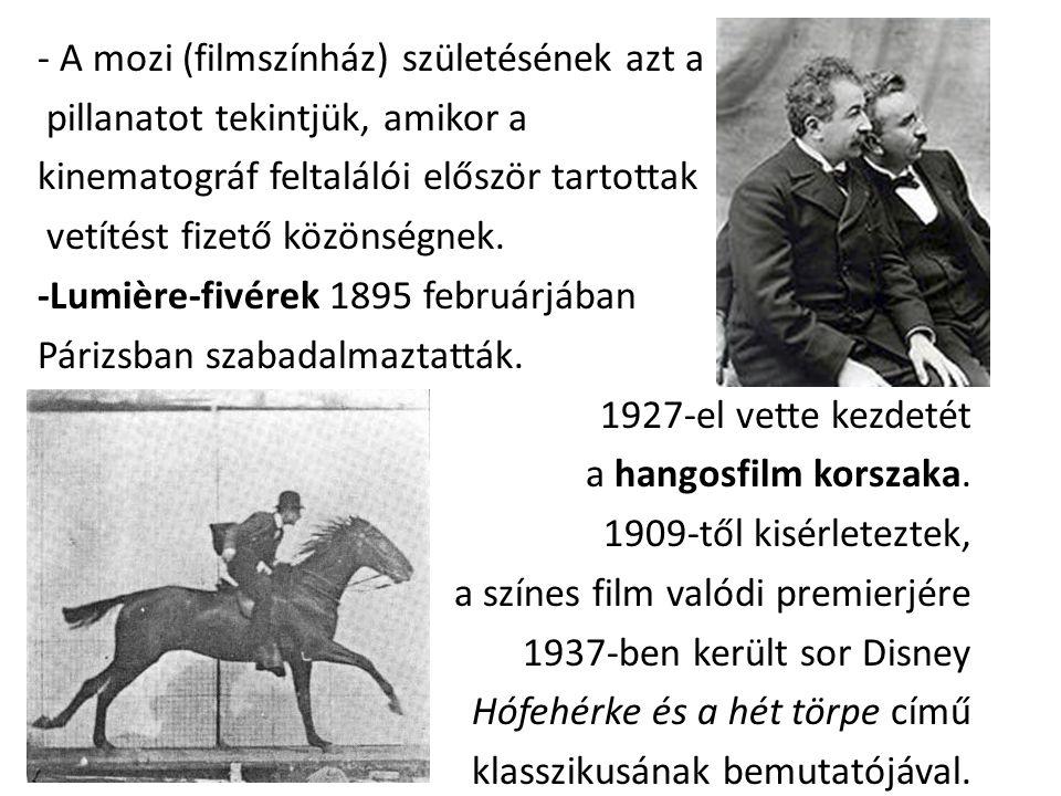 - A mozi (filmszínház) születésének azt a pillanatot tekintjük, amikor a kinematográf feltalálói először tartottak vetítést fizető közönségnek. -Lumiè