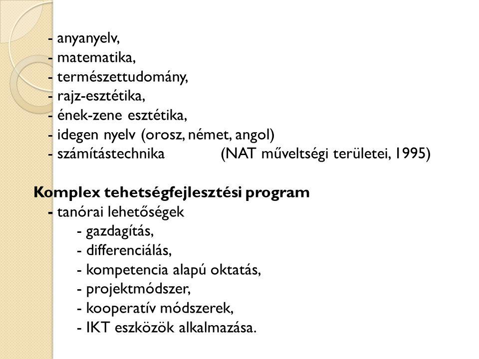 - anyanyelv, - matematika, - természettudomány, - rajz-esztétika, - ének-zene esztétika, - idegen nyelv (orosz, német, angol) - számítástechnika(NAT m