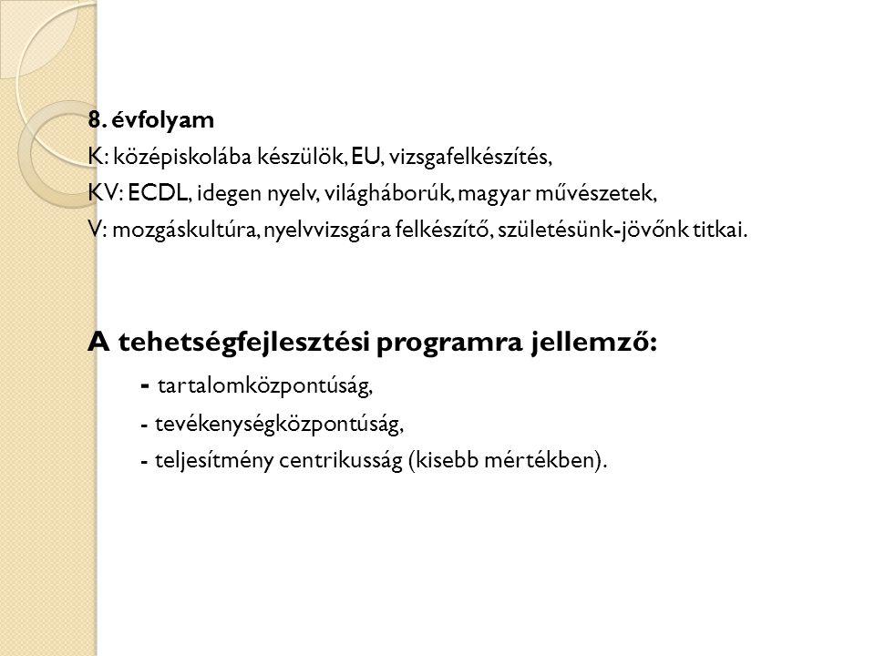 8. évfolyam K: középiskolába készülök, EU, vizsgafelkészítés, KV: ECDL, idegen nyelv, világháborúk, magyar művészetek, V: mozgáskultúra, nyelvvizsgára
