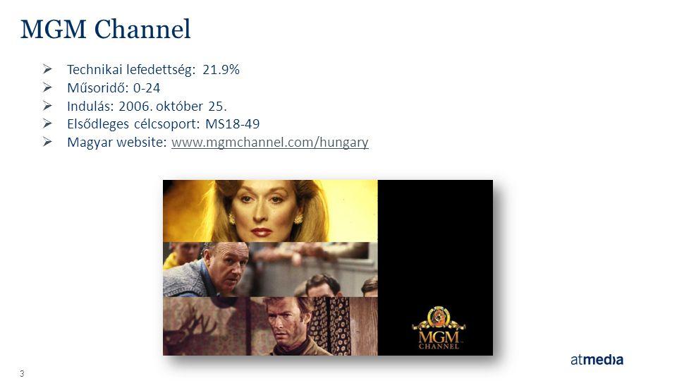 3 MGM Channel  Technikai lefedettség: 21.9%  Műsoridő: 0-24  Indulás: 2006. október 25.  Elsődleges célcsoport: MS18-49  Magyar website: www.mgmc