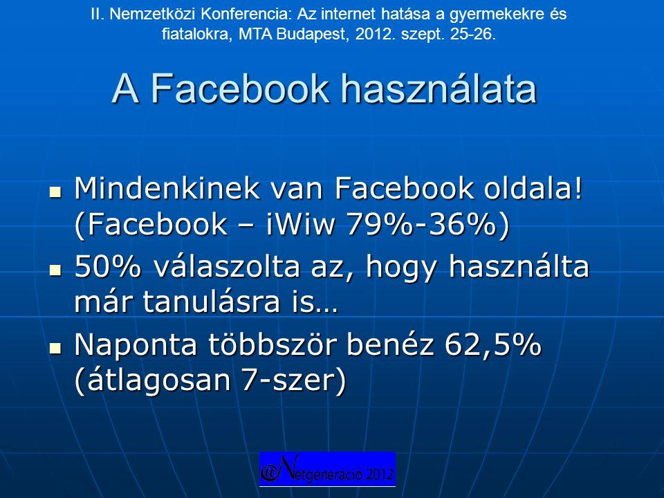 A Facebook használata  Mindenkinek van Facebook oldala! (Facebook – iWiw 79%-36%)  50% válaszolta az, hogy használta már tanulásra is…  Naponta töb