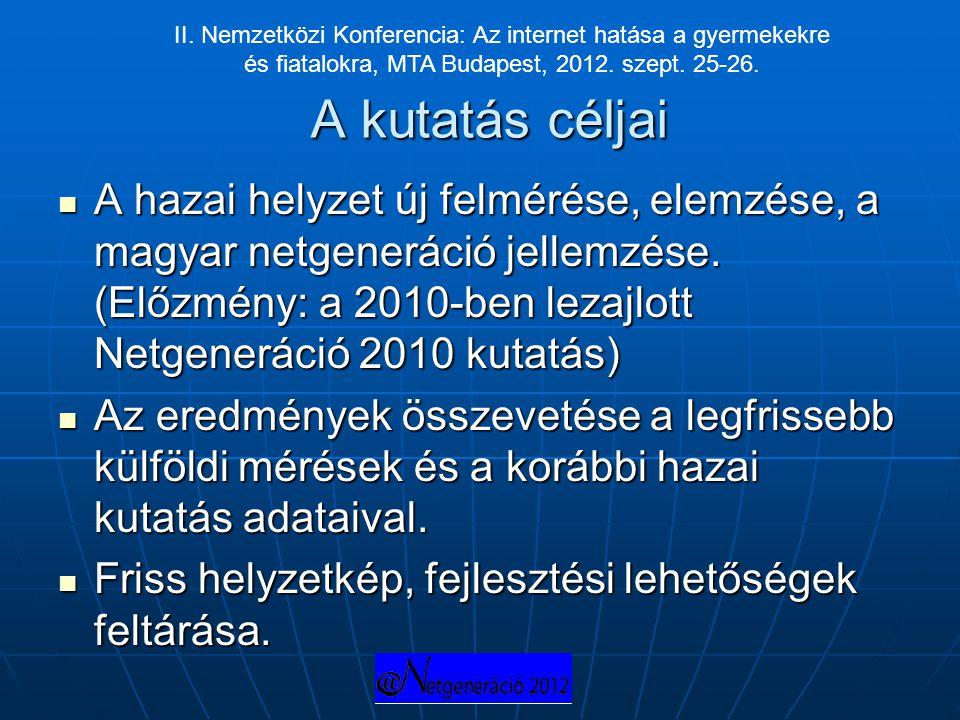 A kutatás céljai  A hazai helyzet új felmérése, elemzése, a magyar netgeneráció jellemzése. (Előzmény: a 2010-ben lezajlott Netgeneráció 2010 kutatás