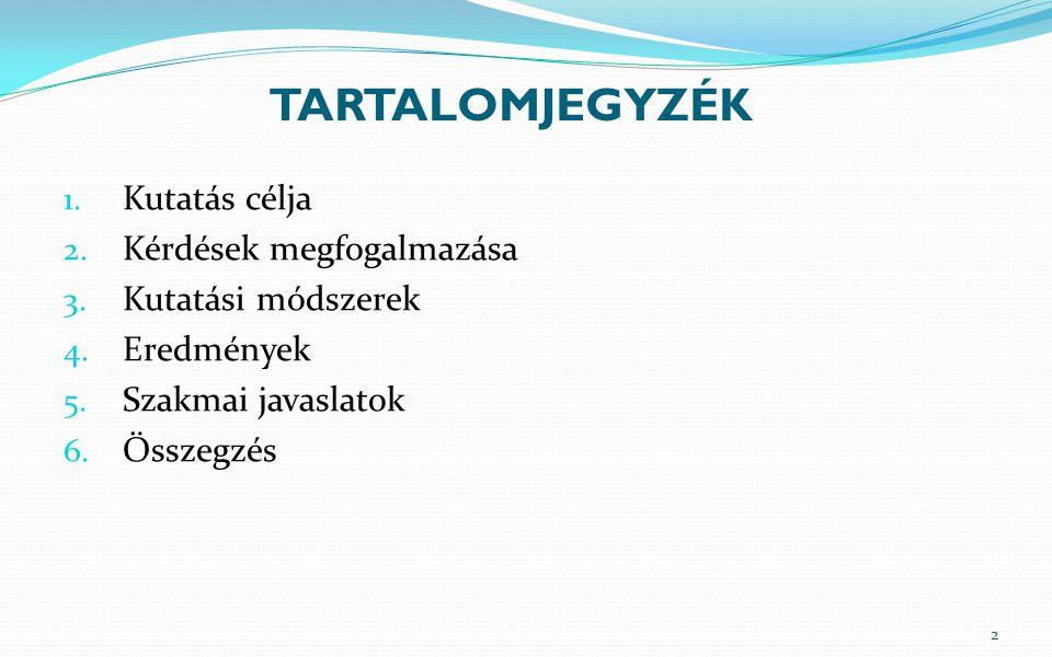 TARTALOMJEGYZÉK 1. Kutatás célja 2. Kérdések megfogalmazása 3. Kutatási módszerek 4. Eredmények 5. Szakmai javaslatok 6. Összegzés 2