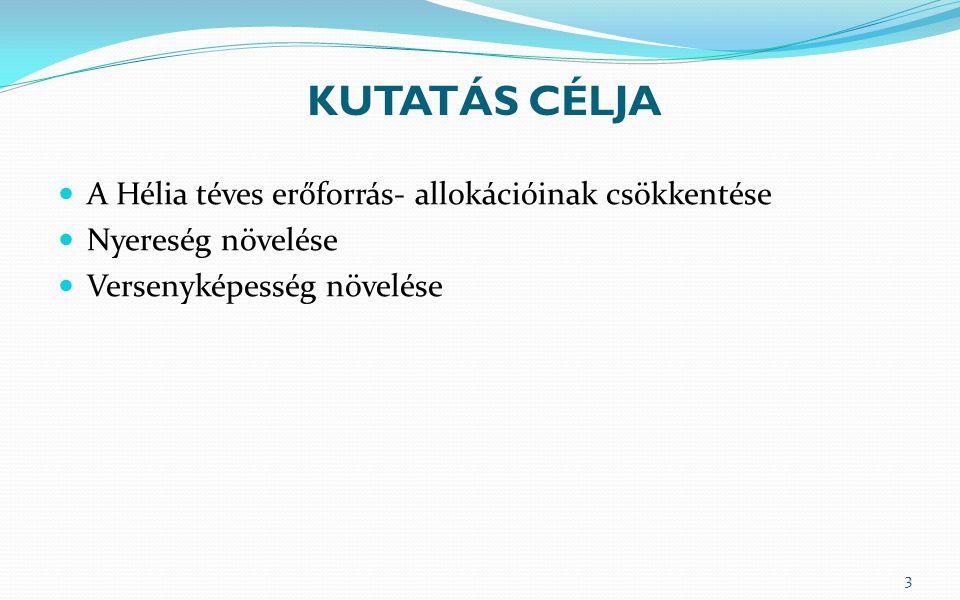 KUTATÁS CÉLJA  A Hélia téves erőforrás- allokációinak csökkentése  Nyereség növelése  Versenyképesség növelése 3