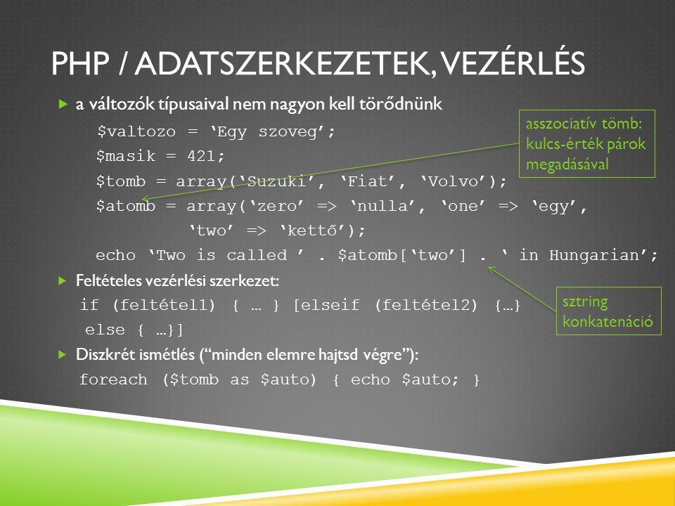 JDBC / LEKÉRDEZÉS stmt = con.createStatement(); stmt = con.createStatement(ResultSet.TYPE_SCROLL_INSENSITIVE, ResultSet.CONCUR_READ_ONLY); rs = stmt.executeQuery( SELECT * from proba ); // irassuk ki az eredmenyeket System.out.println( Display all results: ); while(rs.next()){ String id = rs.getString( id ); String vnev = rs.getString( Vezeteknev ); String knev = rs.getString( Keresztnev ); System.out.println(id + | + vnev + | + knev); } egy ExecuteQuery() függvényhívással adjuk meg, mi legyen az utasítás, a végén nincs pontosvessző.