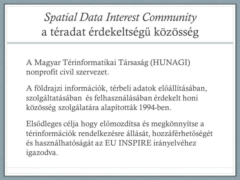 Spatial Data Interest Community a téradat érdekeltség ű közösség A Magyar Térinformatikai Társaság (HUNAGI) nonprofit civil szervezet. A földrajzi inf