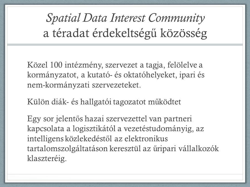 Spatial Data Interest Community a téradat érdekeltség ű közösség Közel 100 intézmény, szervezet a tagja, felölelve a kormányzatot, a kutató- és oktatóhelyeket, ipari és nem-kormányzati szervezeteket.