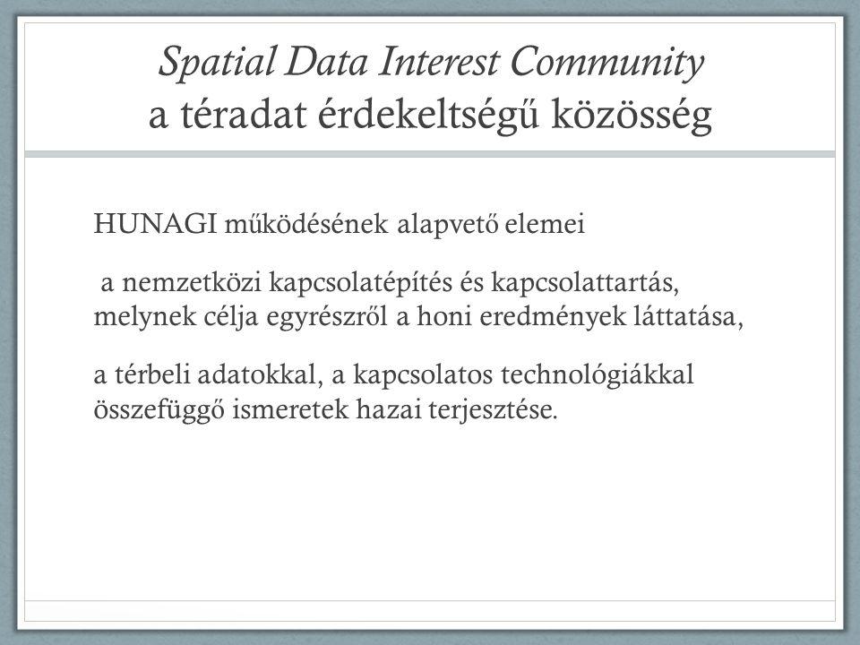 Spatial Data Interest Community a téradat érdekeltség ű közösség HUNAGI m ű ködésének alapvet ő elemei a nemzetközi kapcsolatépítés és kapcsolattartás, melynek célja egyrészr ő l a honi eredmények láttatása, a térbeli adatokkal, a kapcsolatos technológiákkal összefügg ő ismeretek hazai terjesztése.