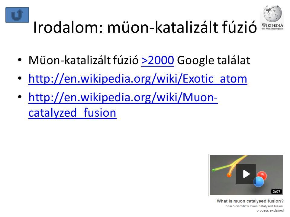 Irodalom: müon-katalizált fúzió • Müon-katalizált fúzió >2000 Google találat>2000 • http://en.wikipedia.org/wiki/Exotic_atom http://en.wikipedia.org/w