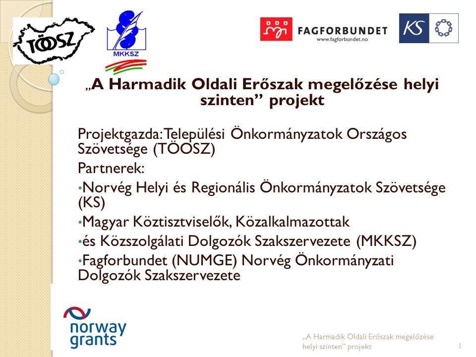 """"""" A Harmadik Oldali Erőszak megelőzése helyi szinten"""" projekt Projektgazda: Települési Önkormányzatok Országos Szövetsége (TÖOSZ) Partnerek: • Norvég"""