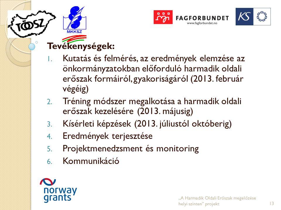 Tevékenységek: 1. Kutatás és felmérés, az eredmények elemzése az önkormányzatokban előforduló harmadik oldali erőszak formáiról, gyakoriságáról (2013.