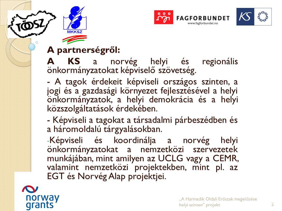 A partnerségről: A KS a norvég helyi és regionális önkormányzatokat képviselő szövetség. - A tagok érdekeit képviseli országos szinten, a jogi és a ga