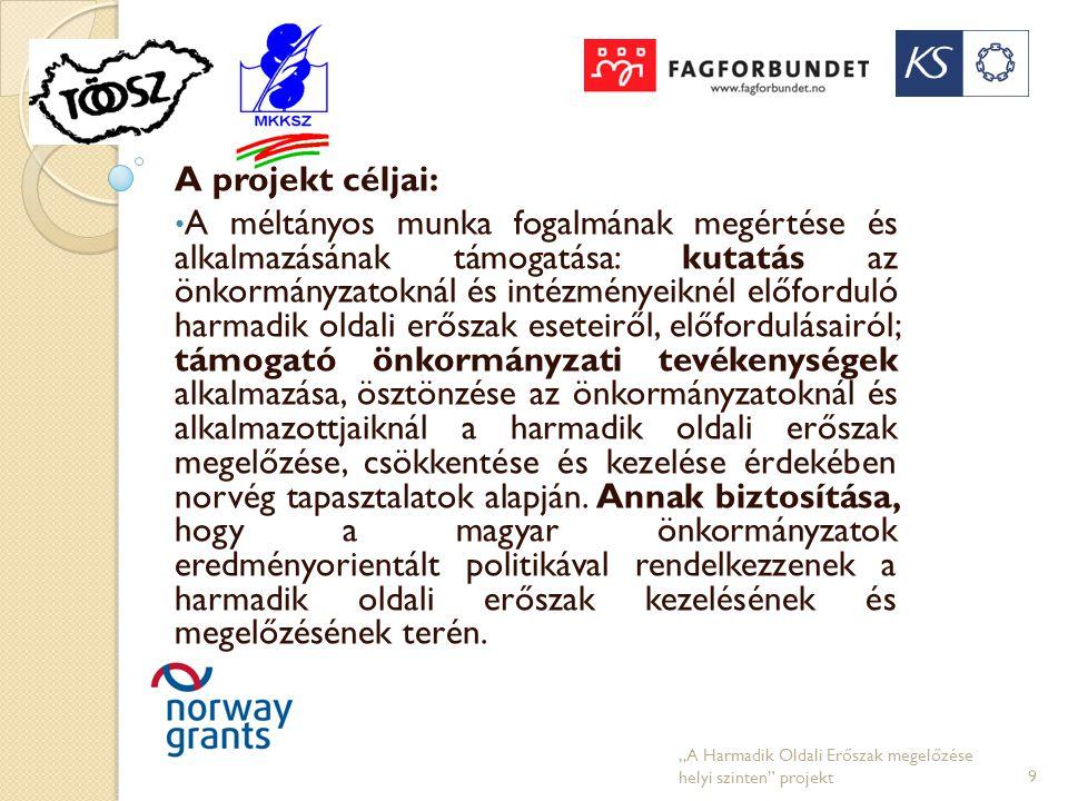 A projekt céljai: • A méltányos munka fogalmának megértése és alkalmazásának támogatása: kutatás az önkormányzatoknál és intézményeiknél előforduló ha