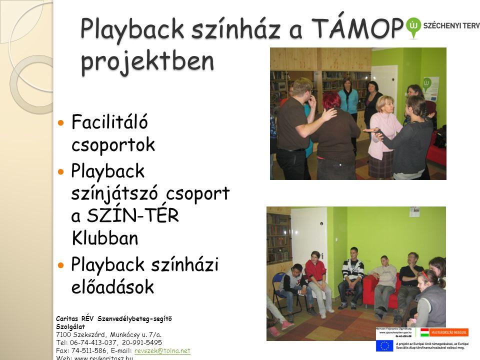 Playback színház a TÁMOP projektben  Facilitáló csoportok  Playback színjátszó csoport a SZÍN-TÉR Klubban  Playback színházi előadások Caritas RÉV Szenvedélybeteg-segítő Szolgálat 7100 Szekszárd, Munkácsy u.