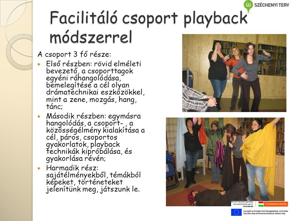 Facilitáló csoport playback módszerrel A csoport 3 fő része:  Első részben: rövid elméleti bevezető, a csoporttagok egyéni ráhangolódása, bemelegítése a cél olyan drámatechnikai eszközökkel, mint a zene, mozgás, hang, tánc;  Második részben: egymásra hangolódás, a csoport-, a közösségélmény kialakítása a cél, páros, csoportos gyakorlatok, playback technikák kipróbálása, és gyakorlása révén;  Harmadik rész: sajátélményekből, témákból képeket, történeteket jelenítünk meg, játszunk le.