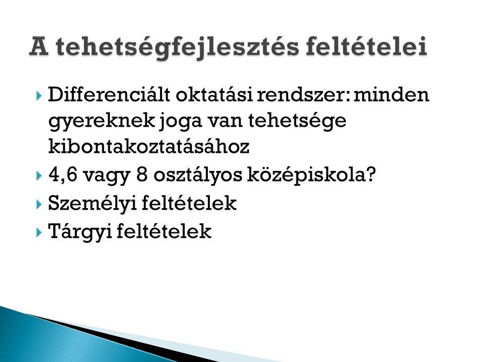  Differenciált oktatási rendszer: minden gyereknek joga van tehetsége kibontakoztatásához  4,6 vagy 8 osztályos középiskola?  Személyi feltételek 