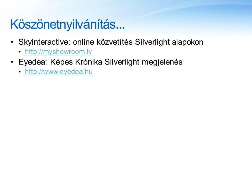 •Skyinteractive: online közvetítés Silverlight alapokon •http://myshowroom.tvhttp://myshowroom.tv •Eyedea: Képes Krónika Silverlight megjelenés •http://www.eyedea.huhttp://www.eyedea.hu