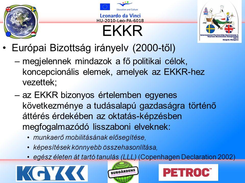 EKKR •Európai Bizottság irányelv (2000-től) –megjelennek mindazok a fő politikai célok, koncepcionális elemek, amelyek az EKKR-hez vezettek; –az EKKR bizonyos értelemben egyenes következménye a tudásalapú gazdaságra történő áttérés érdekében az oktatás-képzésben megfogalmazódó lisszaboni elveknek: •munkaerő mobilitásának elősegítése, •képesítések könnyebb összehasonlítása, •egész életen át tartó tanulás (LLL) (Copenhagen Declaration 2002)