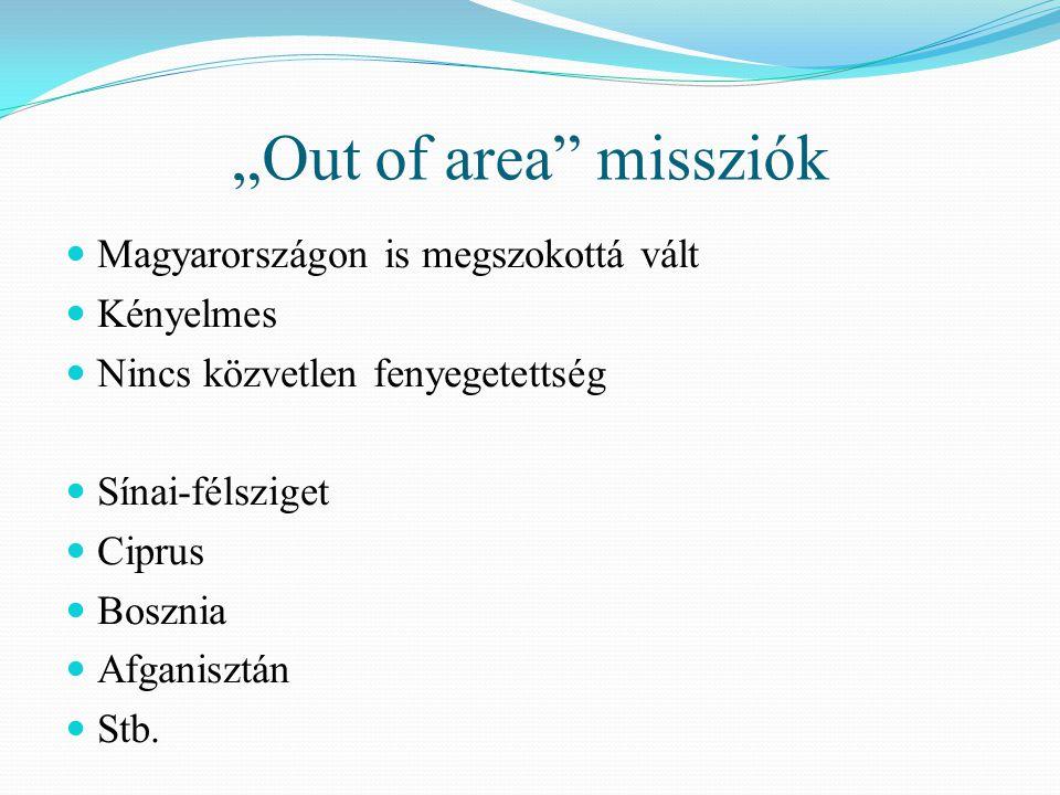 """""""Out of area"""" missziók  Magyarországon is megszokottá vált  Kényelmes  Nincs közvetlen fenyegetettség  Sínai-félsziget  Ciprus  Bosznia  Afgani"""