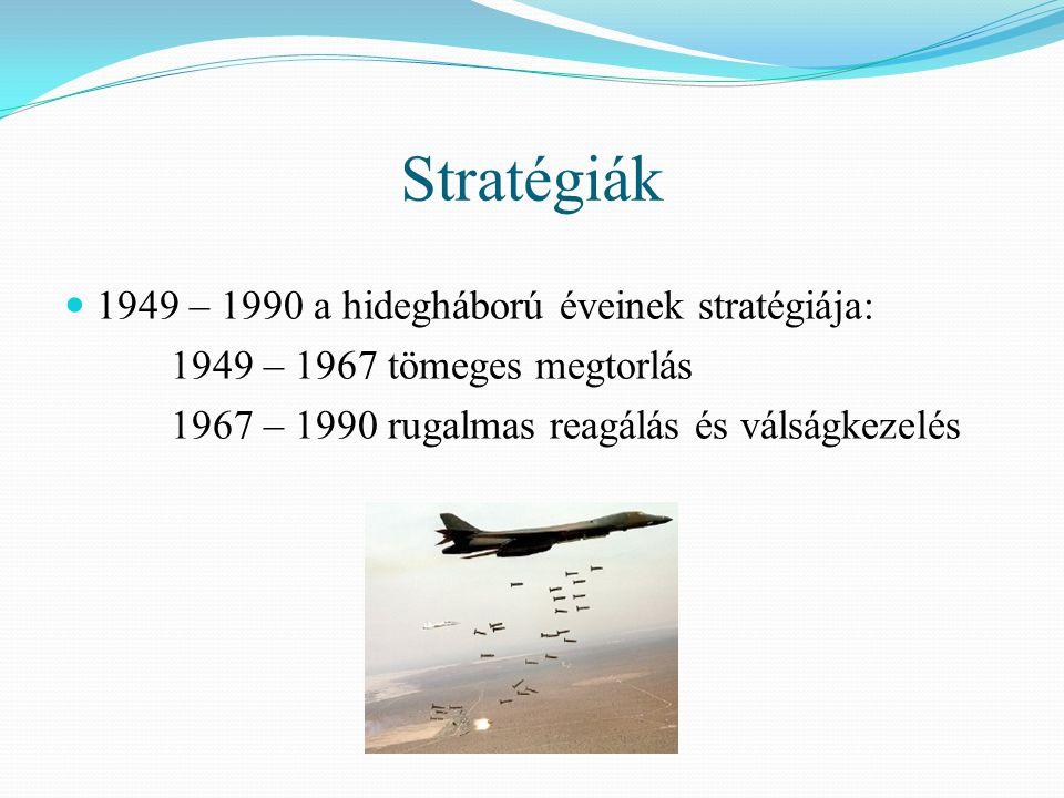 Stratégiák  1949 – 1990 a hidegháború éveinek stratégiája: 1949 – 1967 tömeges megtorlás 1967 – 1990 rugalmas reagálás és válságkezelés