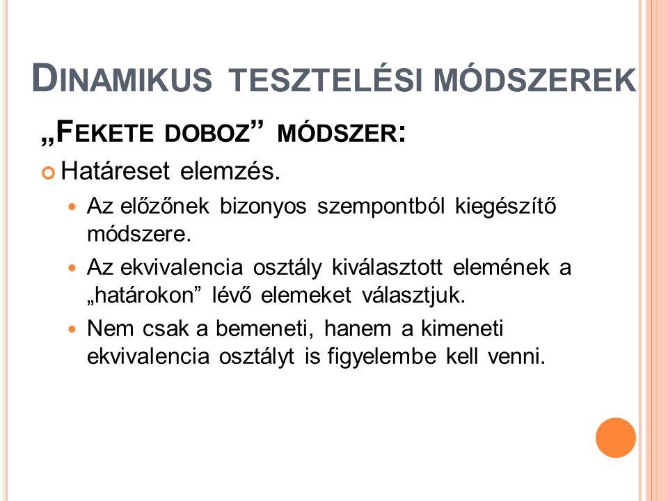 """D INAMIKUS TESZTELÉSI MÓDSZEREK """"F EKETE DOBOZ """" MÓDSZER : Határeset elemzés.  Az előzőnek bizonyos szempontból kiegészítő módszere.  Az ekvivalenci"""