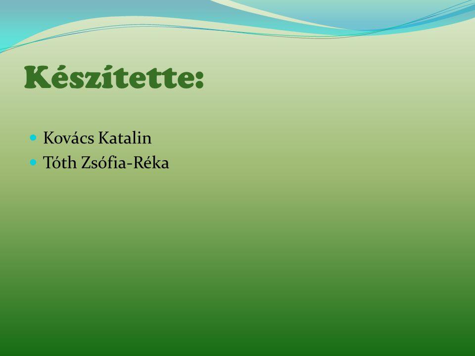 Készítette:  Kovács Katalin  Tóth Zsófia-Réka