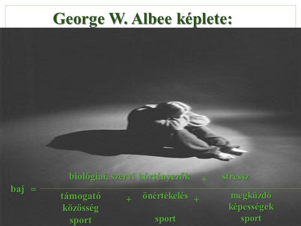 George W. Albee képlete: baj = biológiai, szervi kórtényezők + stressz támogató közösség sport önértékeléssport megküzdő képességek sport ++