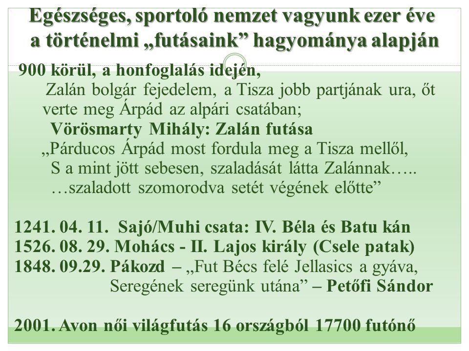"""Egészséges, sportoló nemzet vagyunk ezer éve a történelmi """"futásaink"""" hagyománya alapján 900 körül, a honfoglalás idején, Zalán bolgár fejedelem, a Ti"""