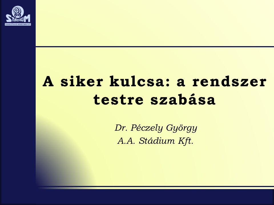 A siker kulcsa: a rendszer testre szabása Dr. Péczely György A.A. Stádium Kft.
