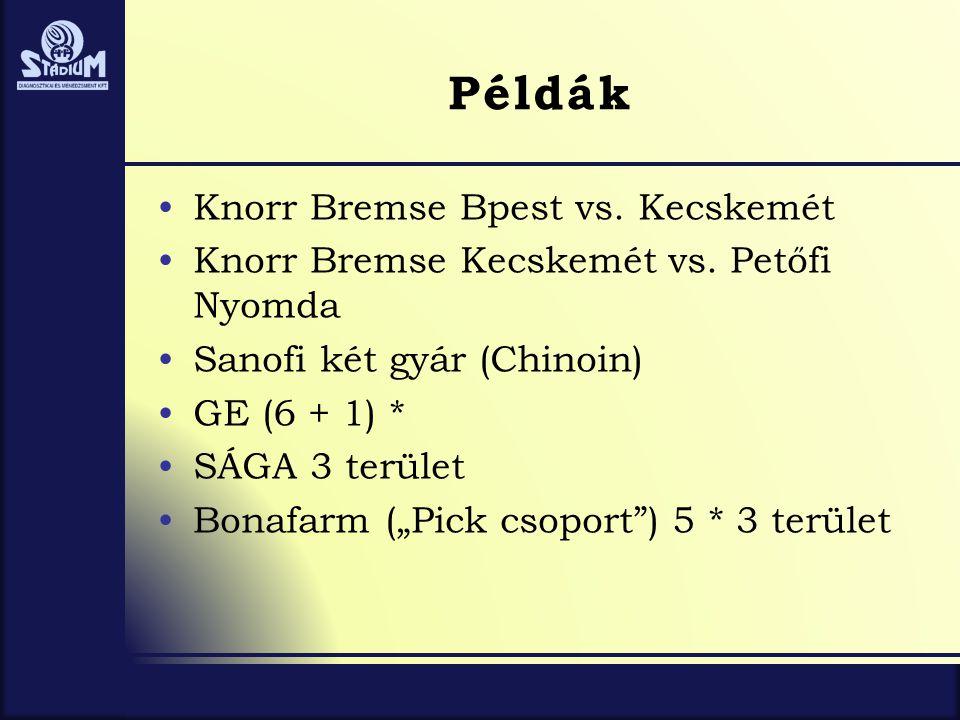 Példák •Knorr Bremse Bpest vs. Kecskemét •Knorr Bremse Kecskemét vs. Petőfi Nyomda •Sanofi két gyár (Chinoin) •GE (6 + 1) * •SÁGA 3 terület •Bonafarm