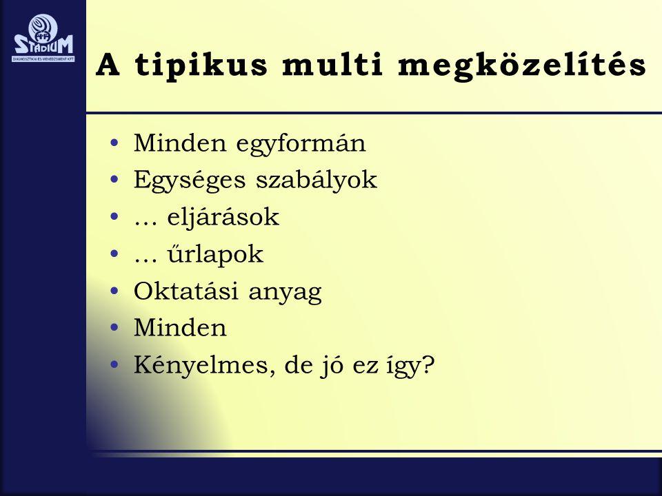A tipikus multi megközelítés •Minden egyformán •Egységes szabályok •… eljárások •… űrlapok •Oktatási anyag •Minden •Kényelmes, de jó ez így?