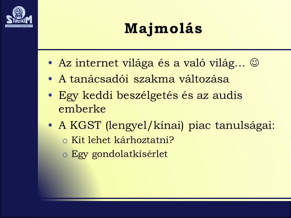 Majmolás •Az internet világa és a való világ…  •A tanácsadói szakma változása •Egy keddi beszélgetés és az audis emberke •A KGST (lengyel/kínai) piac