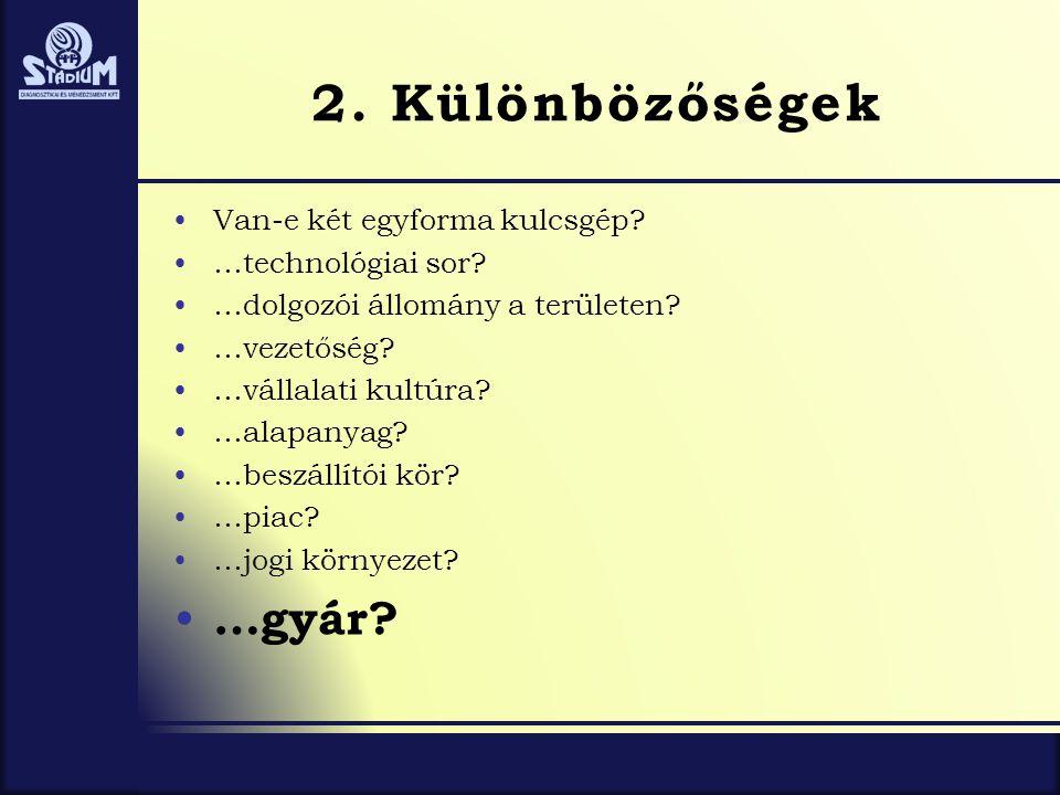 2. Különbözőségek •Van-e két egyforma kulcsgép? •…technológiai sor? •…dolgozói állomány a területen? •…vezetőség? •…vállalati kultúra? •…alapanyag? •…