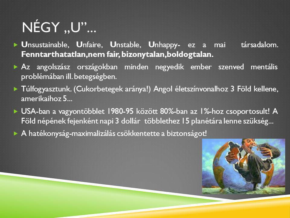 """NÉGY """"U""""...  Unsustainable, Unfaire, Unstable, Unhappy- ez a mai társadalom. Fenntarthatatlan,nem fair, bizonytalan,boldogtalan.  Az angolszász orsz"""