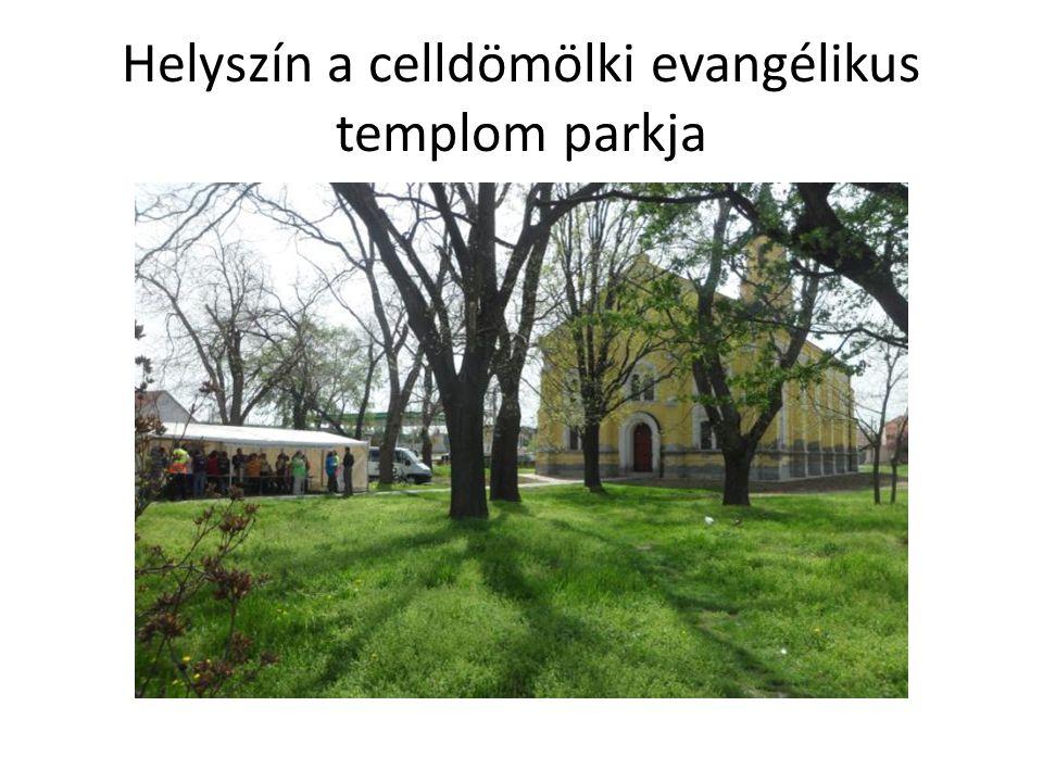 Helyszín a celldömölki evangélikus templom parkja