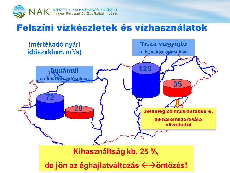 Felszíni vízkészletek és vízhasználatok Kihasználtság kb.