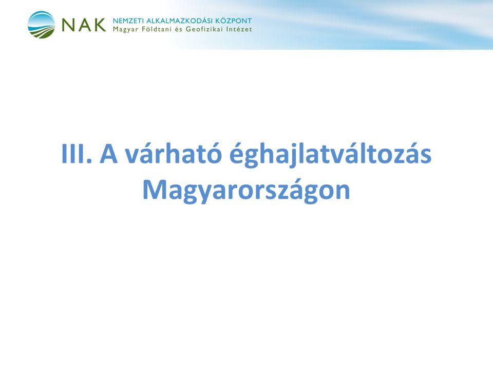 III. A várható éghajlatváltozás Magyarországon