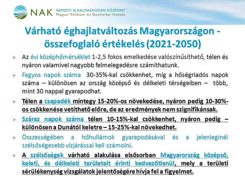Várható éghajlatváltozás Magyarországon - összefoglaló értékelés (2021-2050) > Az évi középhőmérséklet, télen és nyáron valamivel nagyobb felmelegedésre számíthatunk.