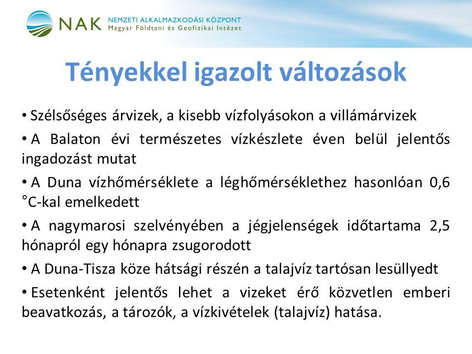 Tényekkel igazolt változások • Szélsőséges árvizek, a kisebb vízfolyásokon a villámárvizek • A Balaton évi természetes vízkészlete éven belül jelentős ingadozást mutat • A Duna vízhőmérséklete a léghőmérséklethez hasonlóan 0,6 °C-kal emelkedett • A nagymarosi szelvényében a jégjelenségek időtartama 2,5 hónapról egy hónapra zsugorodott • A Duna-Tisza köze hátsági részén a talajvíz tartósan lesüllyedt • Esetenként jelentős lehet a vizeket érő közvetlen emberi beavatkozás, a tározók, a vízkivételek (talajvíz) hatása.