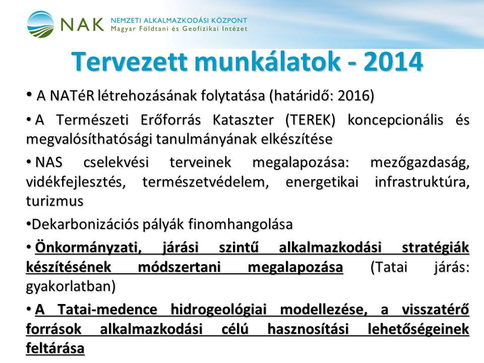 Tervezett munkálatok - 2014 • A NATéR létrehozásának folytatása (határidő: 2016) • A Természeti Erőforrás Kataszter (TEREK) koncepcionális és megvalósíthatósági tanulmányának elkészítése • NAS cselekvési terveinek megalapozása: mezőgazdaság, vidékfejlesztés, természetvédelem, energetikai infrastruktúra, turizmus • Dekarbonizációs pályák finomhangolása • Önkormányzati, járási szintű alkalmazkodási stratégiák készítésének módszertani megalapozása (Tatai járás: gyakorlatban) • A Tatai-medence hidrogeológiai modellezése, a visszatérő források alkalmazkodási célú hasznosítási lehetőségeinek feltárása