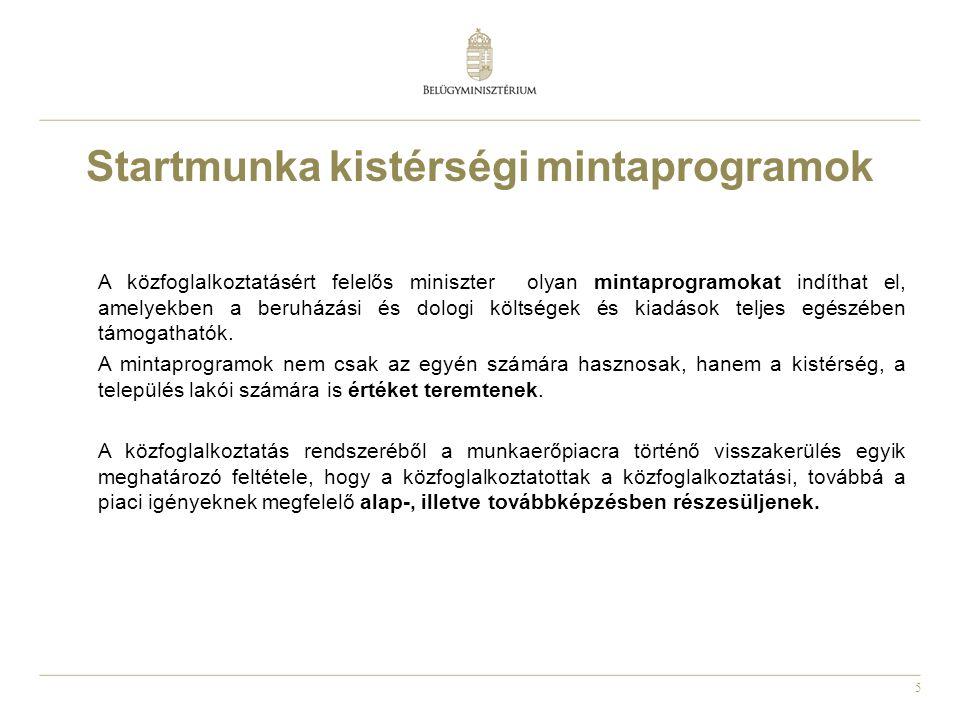 5 Startmunka kistérségi mintaprogramok A közfoglalkoztatásért felelős miniszter olyan mintaprogramokat indíthat el, amelyekben a beruházási és dologi
