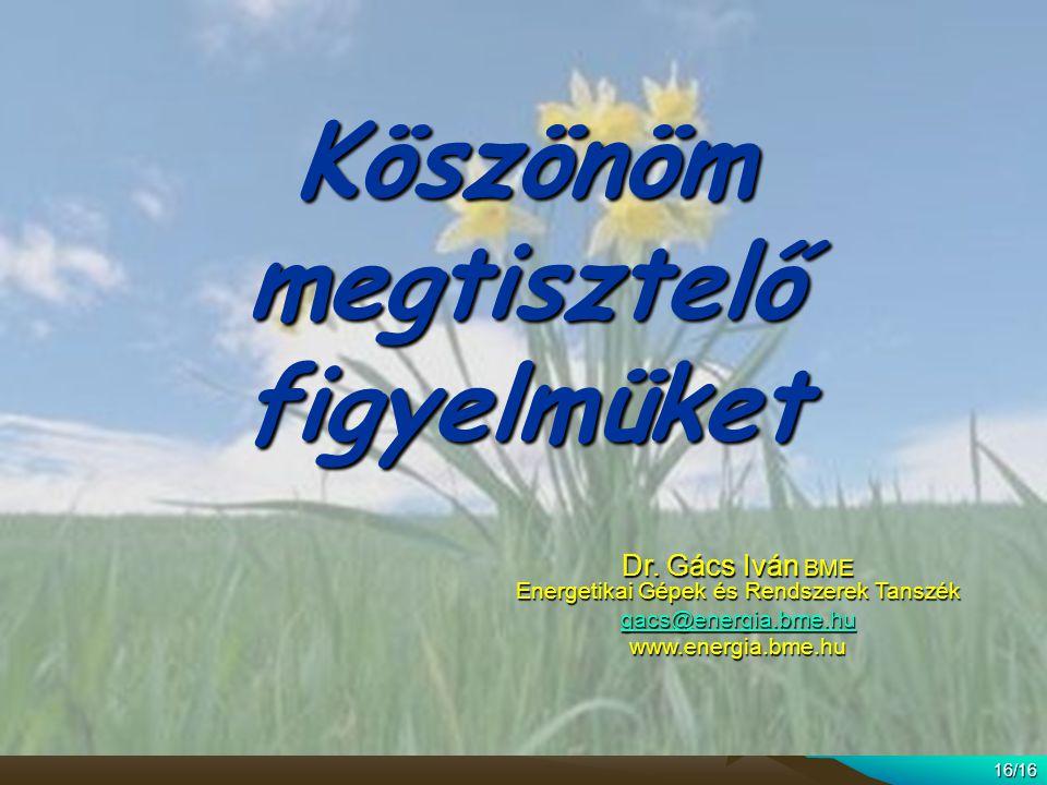 16/16 Köszönöm megtisztelő figyelmüket Dr. Gács Iván BME Energetikai Gépek és Rendszerek Tanszék gacs@energia.bme.hu www.energia.bme.hu