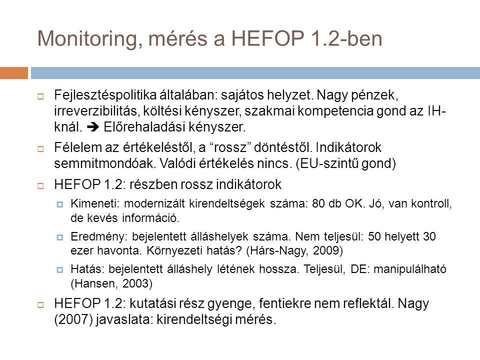Monitoring, mérés a HEFOP 1.2-ben  Fejlesztéspolitika általában: sajátos helyzet.