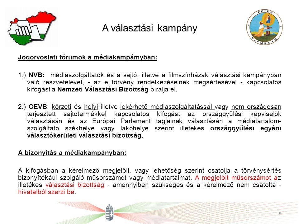 A választási kampány Jogorvoslati fórumok a médiakampámyban: 1.) NVB: médiaszolgáltatók és a sajtó, illetve a filmszínházak választási kampányban való