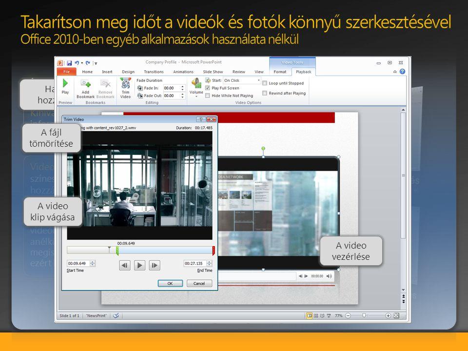 Lehetséges megtakarítások és hatékonyság növelése: a videók használatával hatásosabb bemutatókat készíthet anélkül, hogy bonyolult alkalmazásokat kell