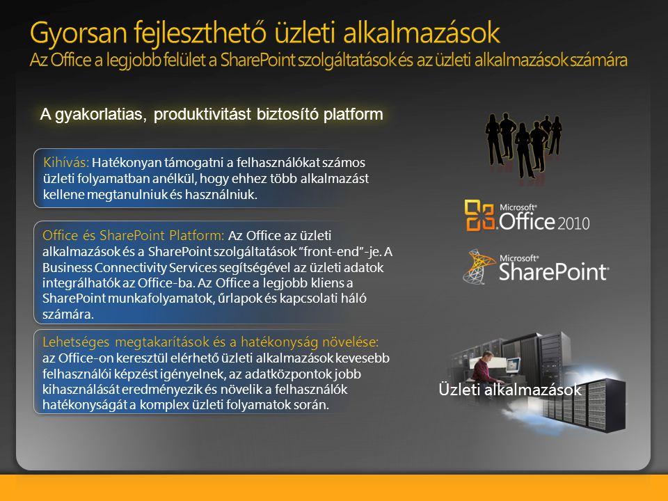 """Office és SharePoint Platform: Az Office az üzleti alkalmazások és a SharePoint szolgáltatások """"front-end""""-je. A Business Connectivity Services segíts"""