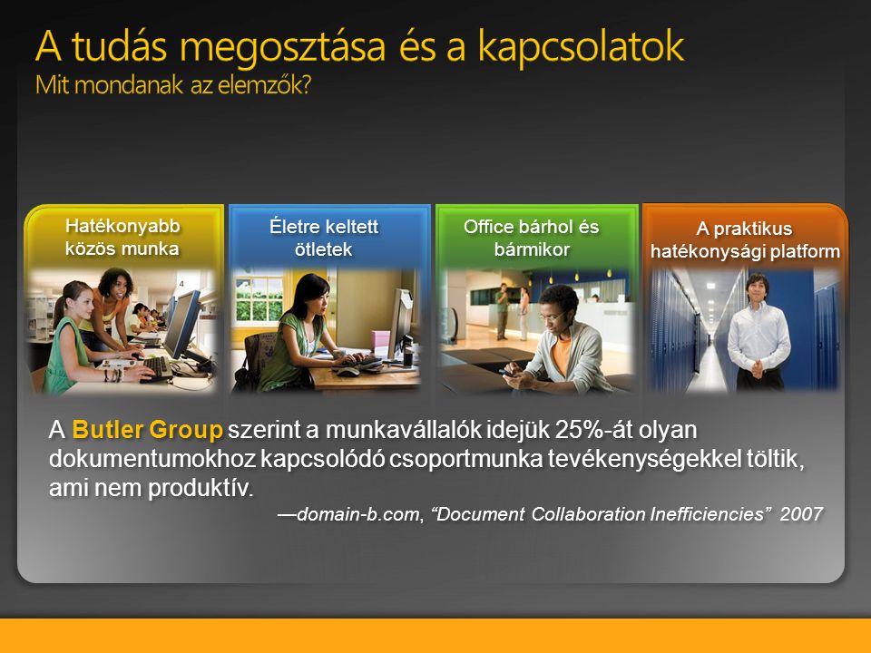 A Butler Group szerint a munkavállalók idejük 25%-át olyan dokumentumokhoz kapcsolódó csoportmunka tevékenységekkel töltik, ami nem produktív. —domain