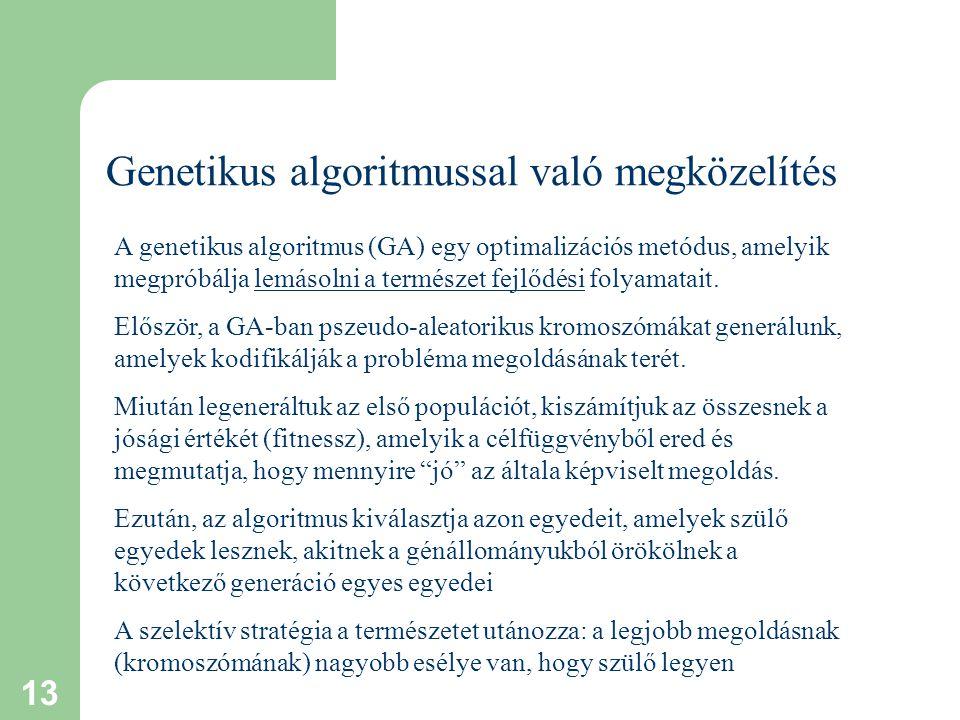 13 Genetikus algoritmussal való megközelítés A genetikus algoritmus (GA) egy optimalizációs metódus, amelyik megpróbálja lemásolni a természet fejlődési folyamatait.